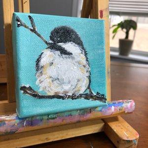 Chickadee bird hand painted canvas mini art